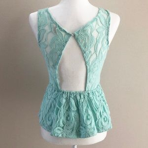 Iris Basic Tops - IRIS BASIC mint lace peplum sleeveless top